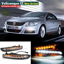 2x LED DRL For VW Passat CC Daytime Day Light w/ Turn Signal 2009 2012 Fog Lamp