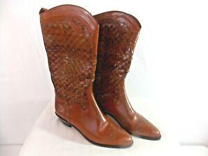 JOAN & DAVID Brown Leather Western Cowboy Boots Women's Size 10  (EU40)