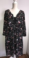 Woman Within Floral Dress 22W Plus Tie Waist 3/4 sleeves