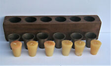 SIX (6) HOLE WOODEN SUGAR MOLD CANDLE HOLDER W CANDLES & INSERTS