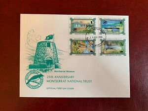 MONTSERRAT 1995 FDC NATIONAL TRUST SUGAR MILL WINDMILL ALPS WATERFALLS HQ CANNON