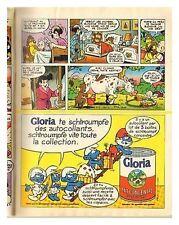 1983 : Document (Ref fip) : publicité LAIT GLORIA PEYO SCHROUMPMPF  (1/2 p)