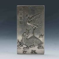 Chinese Collection Tibet Silver Hand Carved Chinese 独站鳌顶 Pendant