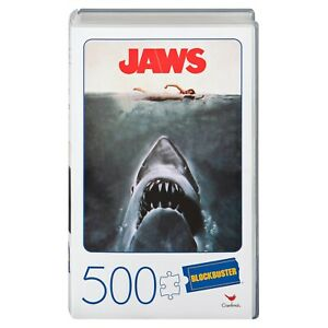 Jaws Movie 500 Piece Puzzle in Plastic Retro Blockbuster VHS Video Case New