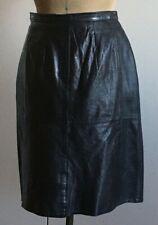 Vintage 1980s black leather pencil skirt UK 12 VGUC