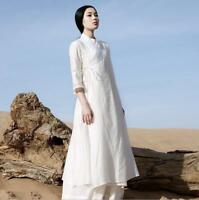 New Women's Retro Loose Fit Casual Maxi Plus Size Linen Long Dress Gown Robe