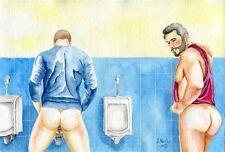 "PRINT of Original Art Work Watercolor Painting Gay Int. Male Nude ""Public toilet"