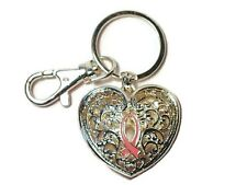 Filigree Heart Key Chain Breast Cancer Awareness Key Ring