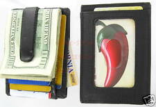 Cow hide Leather Money Clip ID Cash Credit Cards Holder