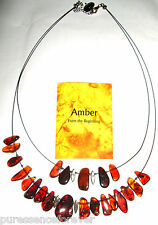 GENUINE AMBER RUSTIC 23 STONE NECKLACE (New/Boxed)