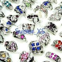 25pcs Mix Color Rhinestones Rings Silver Plated Alloy Wholesale Lots Jewelry YFP