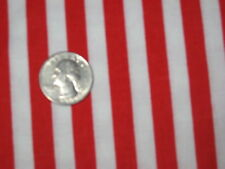 RED WHITE NARROW STRIPE USA CANDYCANE XMAS CLOWN CIRCUS SEW CRAFT FABRIC 1/2 yds