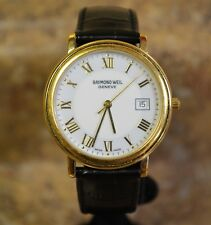 *Raymond Weil Maestro 5574/1 Gold Plated / Leather Band Quartz Date Watch