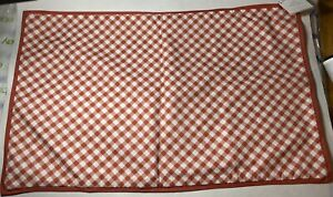 """NWT Pottery Barn Gingham Check Plaid Lumbar Pillow Cover Coral White 16"""" x 16"""""""