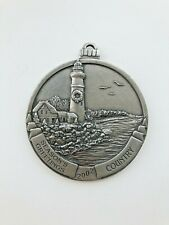 """Country Woman 2002, Pewter Christmas Ornament,Lighthouse Image, 2"""" Diameter Euc"""