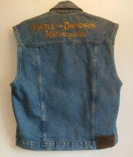 "Harley Davidson Blue Denim Biker Vest Size XS P2P 20"" Sleeveless Trucker Jacket"