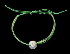 Bracelet bresilien Oeil de Sainte Lucie Nacre Cuir Shiva -vert 1011