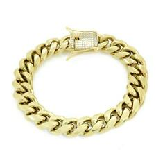 Men Cuban Miami Link Bracelet Stainless 14k Gold Plated 12mm *1ct Diamond Clasp*