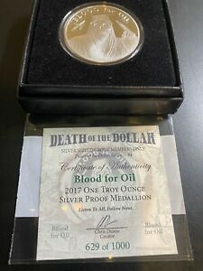 2017 1oz Silver Shield Death Dollar #4 Blood For Oil Proof Medallion w/COA