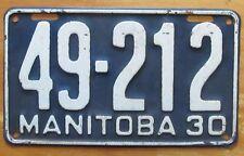 Manitoba 1930 License Plate NICE QUALITY # 49-212