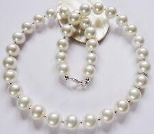Perlen Kette Silber 925 MK WEIß 10 mm Hochzeit Brautschmuck 38,40,42,45,48,50 cm