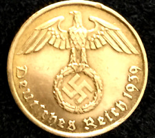 Rare Old WW2 German 5 Reichspfennig High Grade Brass Coin Authentic WW2 Artifact