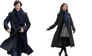 Sherlock Holmes Coat Benedict Cumberbatch Black Wool Long Trench Winter Jacket