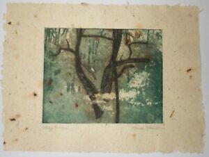 Hazy Foliage original 2 color etching on handmade paper