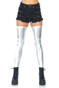 Leg Avenue silver wet look dancer thigh highs