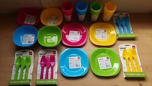 Plastic Cutlery Plates Bowls Tumblers Pastel Colour Set of Each Party Picnic BBQ