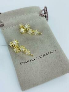 David Yurman Starburst Climber Earrings Diamond 0.70cts 18K Gold New $2950