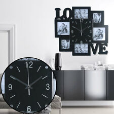 Frame Pictures Wall Clock Black Analog Time Display Photos Love Writing