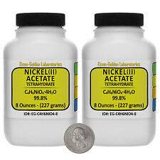 Nickel Acetate [C4H6NiO4] 99.8% AR Grade Powder 1 Lb in Two Plastic Bottles USA