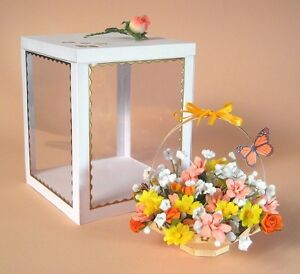 A4 Card Template -3D Flower Basket & Display Box. Personalise for Birthday Gift