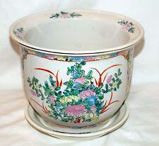 "New 9"" Oriental Asian Colorful Floral Flowers Planter Plant Pot & Saucer"
