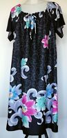 Granada Polyester Black Floral Hawaiian Muu Muu S/S Dress M Made in USA