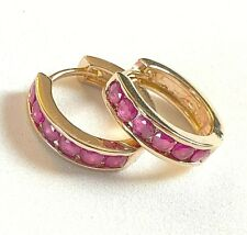 N06 Real 18k gold gf 16mm diameter hoop earrings, 6 pink lab rubies Plum UK BOXD
