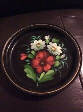 "Pretty Black Floral 7"" Metal Plate. ....Barge ....Cottage Style"