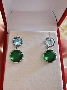 Blue Topaz & Green Onyx Faceted Gemstone DoubleDrop Earrings 925 Sterling AFJC