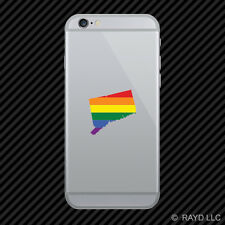 Connecticut State Shaped Gay Pride Rainbow Flag Cell Phone Sticker Mobile LGBT