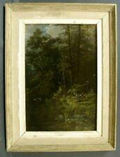 Tableau 19ème paysage et chasseur signé P. Adami