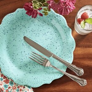 """NEW Set of Four (4) The Pioneer Woman Juliette Dinner Plate, Teal: 10.7"""""""