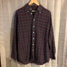 Burberry London Navy Blue Pink Red Plaid Check Button Front Shirt Size Medium