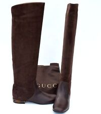 GUCCI New sz 40.5 - 10.5 Designer Riding Womens Flats Shoes Boots Bamboo Brown
