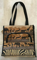 Bovano USA Jungle Animal Print Tapestry Tote Hand Bag Zipper Hook Loop Closure