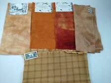 New listing lot 5x Orange felted wool fabric penny rug hooking applique hand dyed Plaid Fall