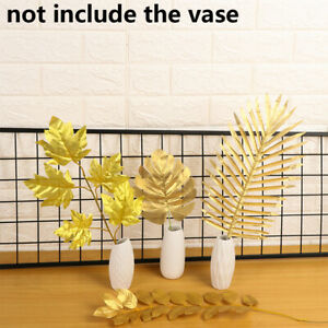 12/24pcs Simulation Leaf Artificial Gold Silk Plant Tropical Palm Leaves Decor