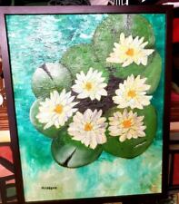 """Orig.--Oil/Canvas Painting-"""" Lillies """"-COA-Mirabella-Listed Artist"""
