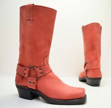 FRYE 12R Coral Pink Leather Harness Boots ~  77303 COR - Sz 7.5