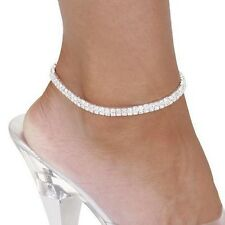 694 - Double row sparkling diamanté stretch ankle chain One size